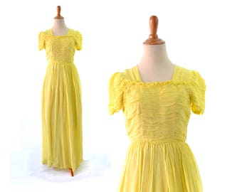 1930s Dress, 30s Dress, yellow dress, long dress, formal dress, yellow wedding dress, vintage dress, 1930s vintage, 30s vintage dress