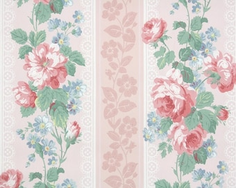 1950s vintage wallpaper by the yard floral wallpaper with 1940s vintage wallpaper by the yard floral wallpaper with large pink roses and blue flowers on pink stripes mightylinksfo