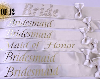 12 Bachelorette sashes, Wedding Sash, 12 Bridesmaid Sash, Weddings, Bachelorette party, Bridesmaid, Maid of Honor, Bride Sash, Set of 12