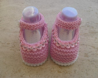 Knitted  Baby Girl Shoes, Mary Jane Shoes Size 3 to 6 Months Ready Made