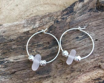 Scottish Sea Glass and Sterling Silver Hoop Earrings in rare soft pink