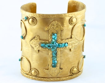 Turquoise Chip Cross 24K Gold Aztec Cuff