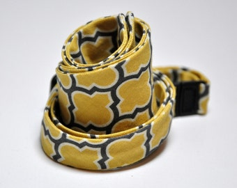 Mens Bow Tie Yellow and Gray - Freestyle Bowtie in Grey and Yellow Lattice