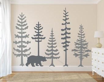 Nursery Wall Decals Pine Tree,Bear Wall Decal Wall Mural Stickers Nursery  Tree Art Nature