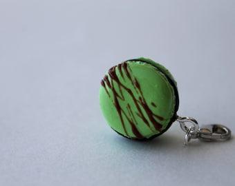 Chocolate Mint Macaroon with Chocolate Drizzle Charm/ Sweet Treat Bracelet Charm/ Fake Dessert Food/ Miniature Polymer Clay