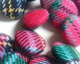 Handmade checkered buttons 20stück buttons Fabric-related buttons