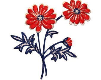 ID 1085 Patriotic Flowers Patch America Plant Daisy Embroidered Iron On Applique