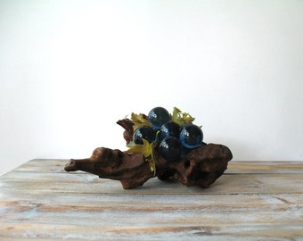 Mid Century Lucite Grapes on Driftwood