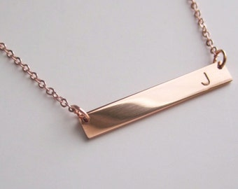 Rose gold bar, initial necklace, bridesmaid gift,rose gold necklace, Rose Gold Bar Necklace