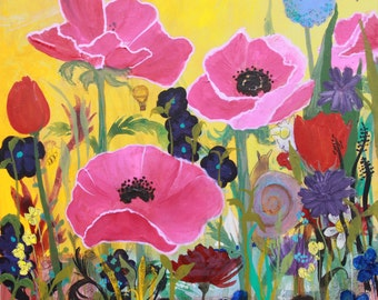 Pink Poppies and snail time traveler floral and fun print