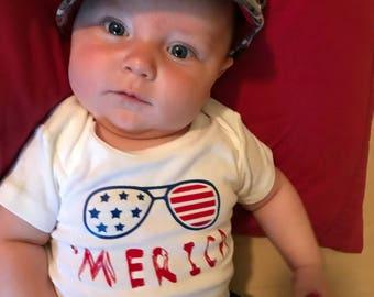 Patriotic 'Merica Top  Choose from infant onesie or childrens tshirt
