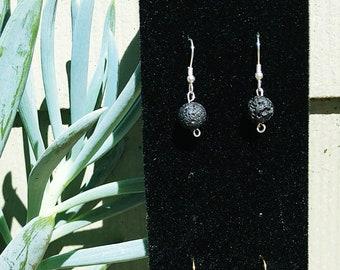 Essential Oil diffusing black lava stone earrings