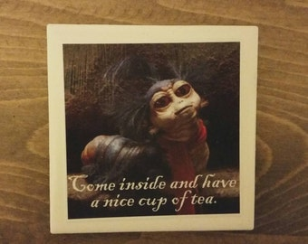 """Set of two Labyrinth coasters. Worm from Labyrinth """"Come inside and have a nice cup of tea"""""""