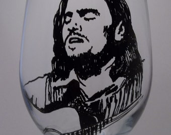 Hand Painted Glass, Painted Wine Glass, James Taylor