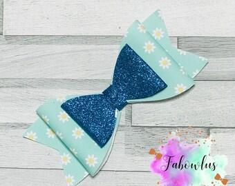 Blue Daisy Glitter Bow