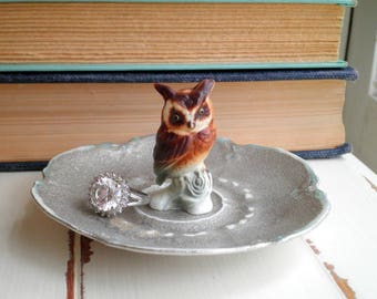 Vintage Owl Ring Dish - Silver Ring Plate / Jewelry Dish - Shabby Woodland Owl Trinket Plate - Forest Animal Jewelry Storage Home Decor Gift
