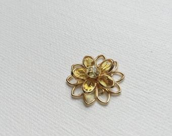 Yellow Swarovski Crystal Flower Rosette Daisy Cabochon Connector Bead - PA1095