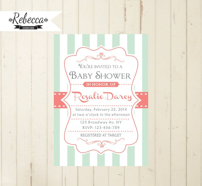 mint baby shower mint and coral baby shower invitation coral