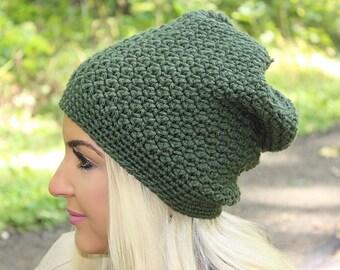 Women's Slouchy Hat, Crochet Slouchy Hat, Women's Hat, Crochet Hat, Women's Crochet Hat, Women's Accessories, Green Slouchy Hat, THE DENALI