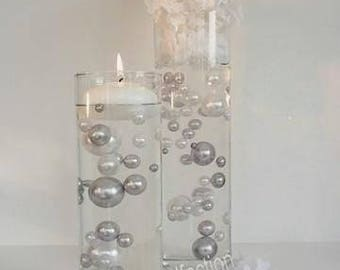 Silver/Grey & White Pearls - Jumbo/Assorted Sizes Vase Fillers for Centerpieces
