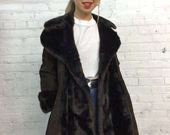 vintage 60s Lilli Ann coat brown suede faux fur collar and cuffs / vintage Lilli Ann shearling coat