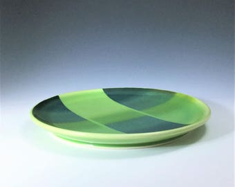 Green Luncheon Plate, Porcelain Salad Plate, Green Ceramic Plate, Green Salad Dish, Ceramic Dessert Plate, Wheel Thrown Pottery Plate
