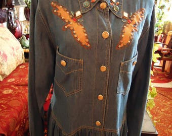 Vintage 1980's Cowgirl in Denim Texas Style Dress