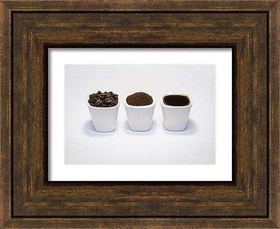 Fine Art Photography, Kitchen Decor, Coffee Wall Art, Rustic Home Decor, Coffee Art Print, Brown White Black Grey, 5x7 8x10