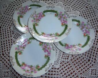 Set of FOUR Austrian China Dessert Plates
