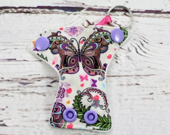butterfly keychain - keychains for women - baby shower favor - present topper - baby shower gift - baby shower diaper cake - cloth diaper