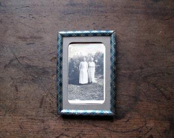 Vintage Metal Printed Plaid Blue Tin Frame Metallic Easel rare
