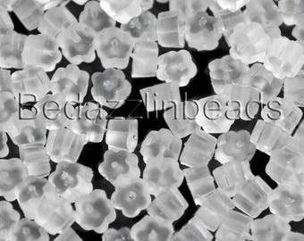 100 Clear Flower Shaped Soft Plastic Earring Backings for Fishhook Hook Earrings and Studs
