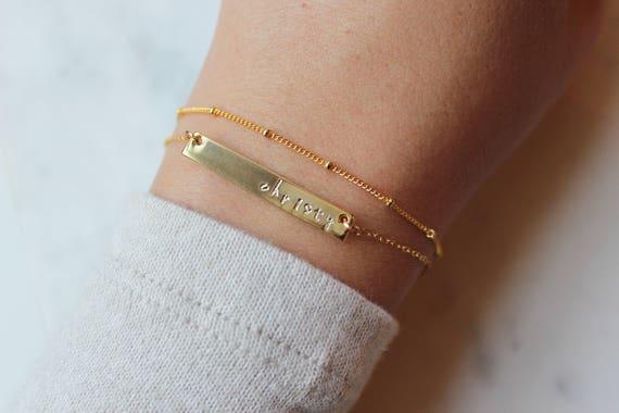 Skinny Bar Bracelet, Nameplate Bracelet, Name Plate Bracelet Dainty Bracelet Set Layering Bracelet Set Dew Drops Bracelet Gold Name Bracelet by Etsy