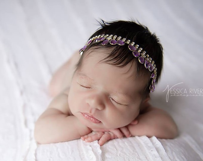 Purple and Gold Teardrop Rhinestone Headband photos, new baby girl, Lil Miss Sweet Pea