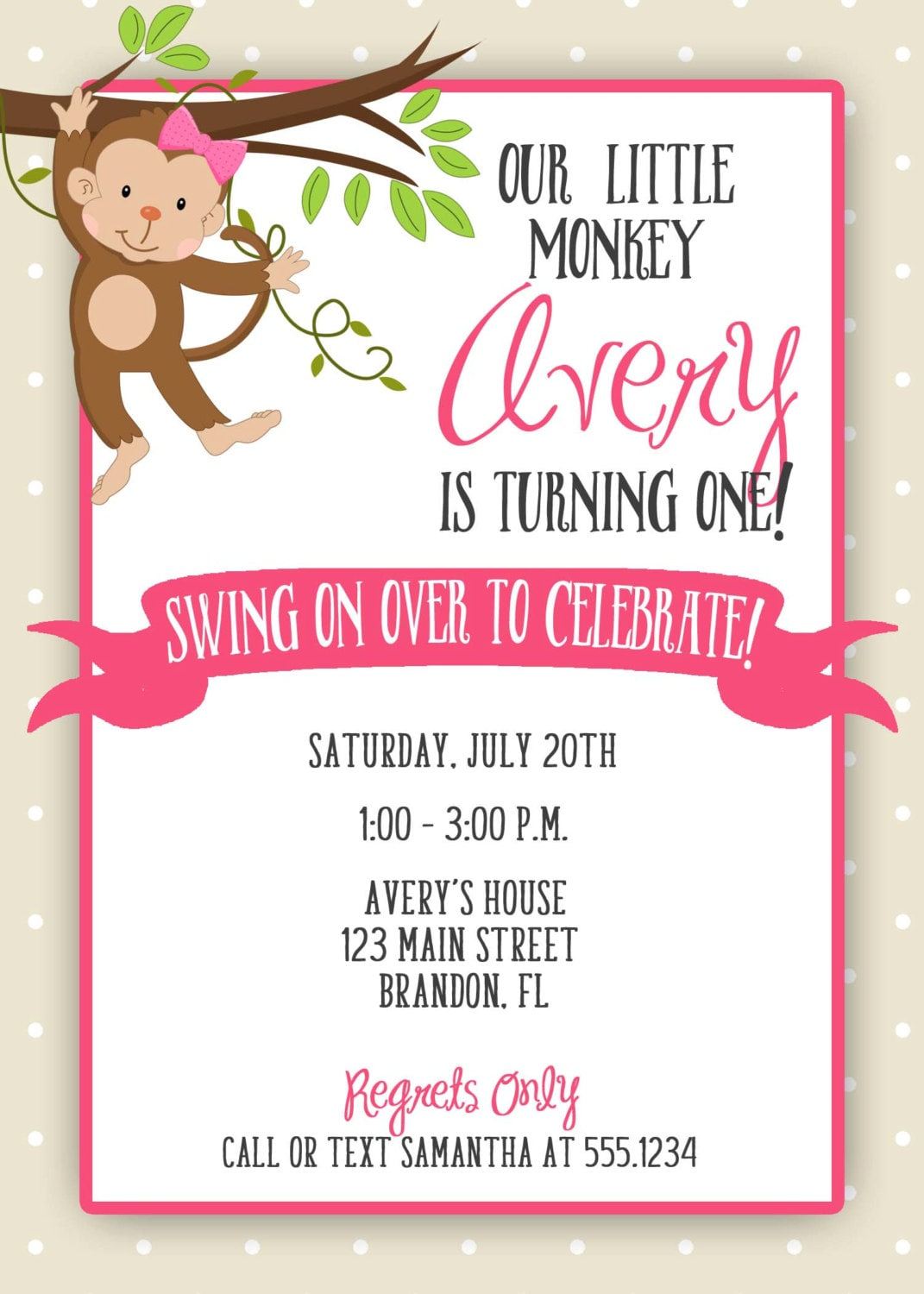 Monkey Birthday Invitation, Monkey Girl Birthday, Swinging Monkey ...
