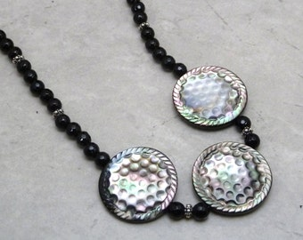 Abalone Necklace - Statement Necklace - Beadwork Necklace -  Handmade Jewelry