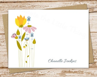 personalized wildflower note cards . meadow flowers notecards . folded personalized stationery . botanical stationary . set of 8
