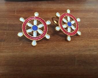 Nautical Clip Earrings, Vintage 1960s Nautical Earrings, Red White Blue Enamel Brass Earrings, Clip On Earrings, Vintage 60s Jewelry Sailor