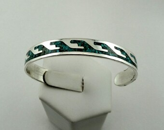 Catch A Wave!  Native American Hand Made Vintage Cuff Bracelet In Sterling Silver With Turquoise Inlay FREE SHIPPING! #WAVE-CF6