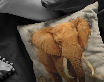 Elephant pillow, pillow Elephant 16x16, Elephant gifts, Elephant cushion, Elephant throw pillow. Elephant lovers gift