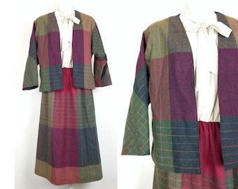 Vintage Dress Suit Beige Colorful Plaid Jacket Set Women's M Toni Todd 70s