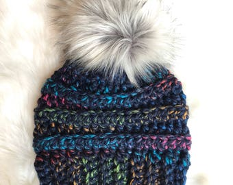 Adult/child fur pom hat in navy
