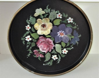 "Vintage NASHCO Black Tolle Hand Painted Floral 13"" Round Metal Serving Tray"