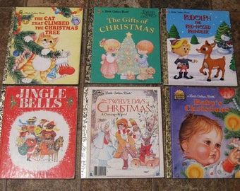 Set of Six Little Golden Books - Christmas - Vintage