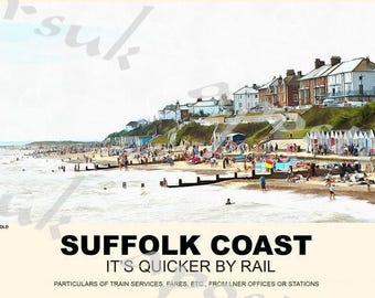 Vintage Style Railway Poster Southwold Suffolk Coast A3/A2 Print