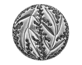 Danforth Large Oak Leaf 1.5 inch ( 38 mm ) Pewter Button