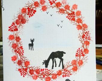 Demo card Wreath and Deer