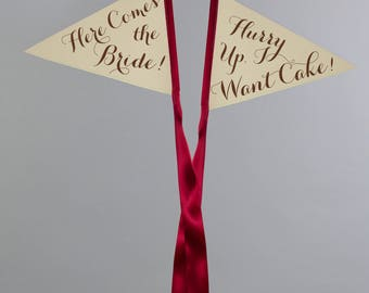 """Set of 2 Wedding Flags """"Here Comes the Bride"""" + """"Hurry Up I Want Cake!"""" Pennant Flags Ring Bearer Signs 