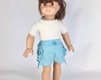 Blue Dot Cargo Shorts - 18 Inch Doll Clothes, AG Doll Shorts, Handmade Cargo Shorts for American Girl, Our Generation or Journey Girl Doll