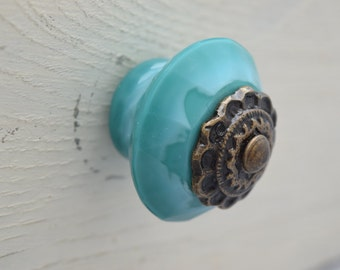 Glass Drawer Knobs In Teal With Bronze Hardware, Drawer Pull, Cabinet Pull, Cabinet Knobs